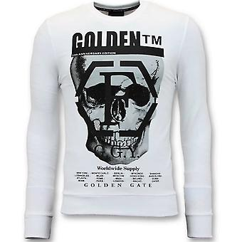 Sweater With Print - Skull -7319 - White
