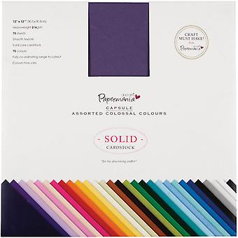 Papermania Premium Smooth Solid Cardstock Pack 12