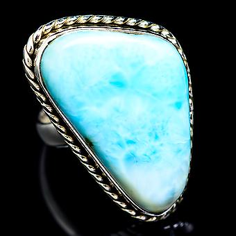 Large Larimar Ring Size 8.25 (925 Sterling Silver)  - Handmade Boho Vintage Jewelry RING5375