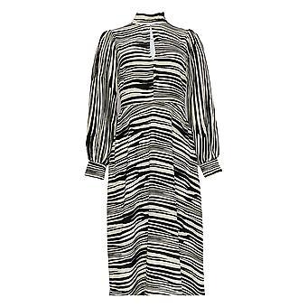 Banana Repablic Dress Back Zipper Zebra Print Black / Ivory