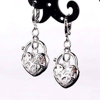 Floral etched heart padlock charm earrings