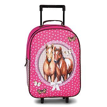 Fabrizio Kids Pferde Mädchen Kinderkoffer 42 cm 2 Rollen, Pink