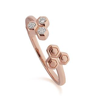 Diamant-Trilogie offenen Ring in 9ct Rose Gold 191R0903029