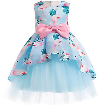 Girl Flower Bowknot Wedding Bridesmaid Formal Party Dress