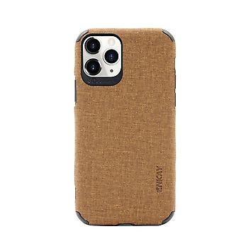For iPhone 11 Pro Case Fabric Texture Denim Fashionable Protective Cover Brown