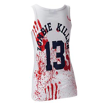 Darkside - zombie killer 13 - ribbed vest top - white
