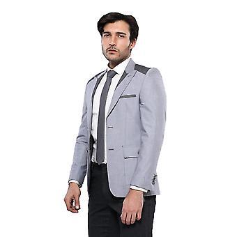 Peak lapel shoulder detailed grey jacket | wessi
