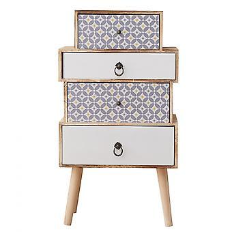 Rebecca Furniture Comfort Drawer 4 White Light Wood Drawers 81x45x29