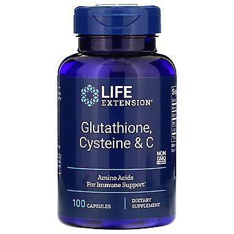 Lebensverlängerung, Glutathion, Cystein & C, 100 Kapseln