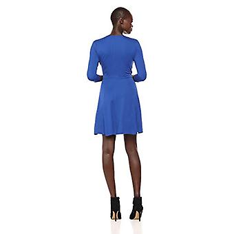 Brand - Lark & Ro Women's Three Quarter Sleeve Faux Wrap Fit and Flare Dress, Cobalt, X-Large