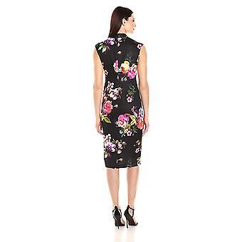 S.L. Fashions Women's Tuck Neckmidi Floral Scuba, blkmulti, 12