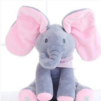 Elefante eléctrico juguete orejas mover música bebé piel y buscar gato muñeca calmante-