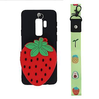 Samsung Galaxy S9 Plus skal/plånboksfodral Jordgubbe/svart/röd
