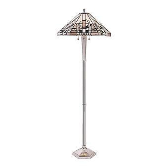 3 Lys gulvlampe poleret aluminium, Tiffany Glas, E27