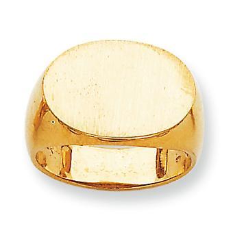 posteriore di 14 k giallo oro aperta Engravable Mens dell'anello di Signet - 8,3 grammi - Dimensioni 10