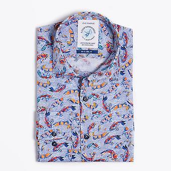 Ein Fisch namens Fred - Kunst Fische Print Shirt - blau/Multi