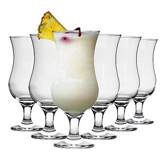 6 Piece Pina Colada Cocktail Glasses Set - Hurricane Style Poco Grande Party Drinking Glass - 460ml