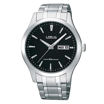 Lorus Mens Stainless Steel Dress Watch met Zwarte Wijzerplaat (Model Nr. RXN23DX9)