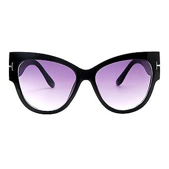 Luxury Designer Black Cat Eye Oversized Sunglasses With Gradient