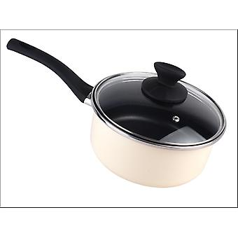 Home Cook Non-Stick Saucepan With Lid Enamel Steel 20cm Cream HH0130