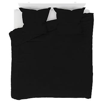 3-pcs. Bedding Set Fleece Black 200 x 200 / 80 x 80 cm