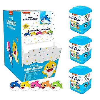 3-Pack Pingfong Baby Shark Figurines 3D Puzzle Eraser Eraser Puzzle