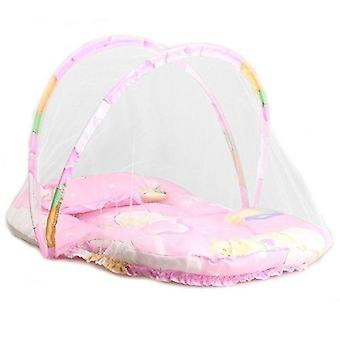 Infant Kids Bed Dot-zipper Mosquito-net, Crib Cushion Tent