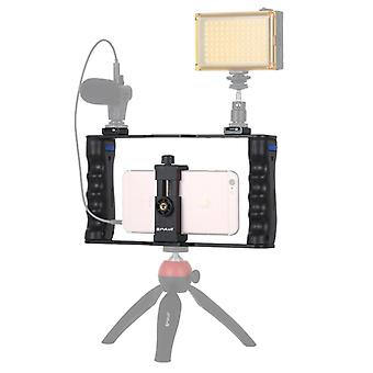 PULUZ Vlogging Live Broadcast Smartphone Cage Video Rig Filmmaking Recording Handle Stabilr Bracket for iPhone, Galaxy, Huawei, Xiaomi, HTC, LG, Go