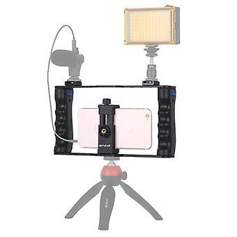 PULUZ Vlogging Live Broadcast Smartphone Cage Video Rig Filmmaking Kahva Stabilointi kiinnike iPhone, Galaxy, Huawei, Xiaomi, HTC, LG, Go