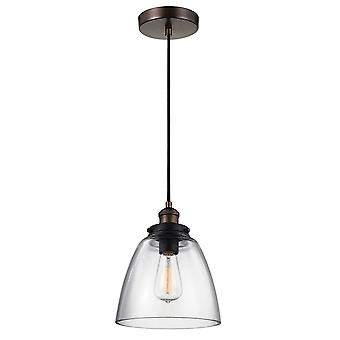 Feiss Baskin 1 Pendant In Aged Brass & Dark Weathered Zinc