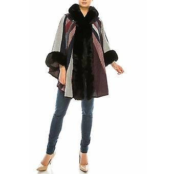 Sioni Multi Panel Printed Fur Trimmed Hooded Poncho Cape