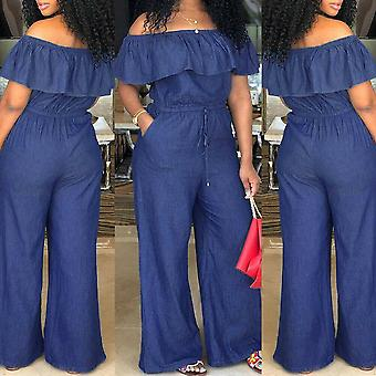 Fashion Casual Solid Off Shoulder Long Romper Jumpsuit Bodysuit