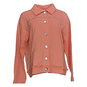 Quacker Factory Women's French Terry Jacket w/ Fringe Detail Pink A308126