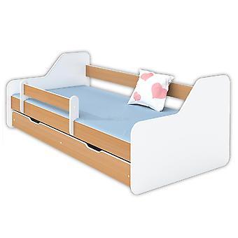 Kinderbed 160x80 wit / houtkleur met lattenbodem