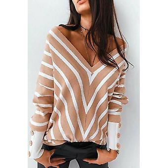 V Neck Popper Cuff Striped Casual Sweater