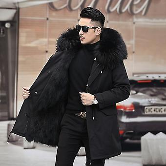 Manteau de renard réel de fourrure, veste d'hommes, vêtements d'hiver, vestes à capuchon de Parkas épaisses de mens