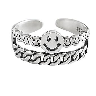 Vintage Smiling Face Finger Rings Hip Hop Opening Adjustable Weaving Statement