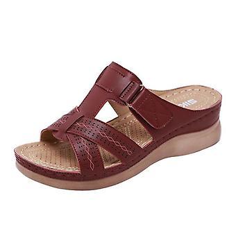 Summer Casual, Stitching Open-toe, Platform Slides, Beach Sandals
