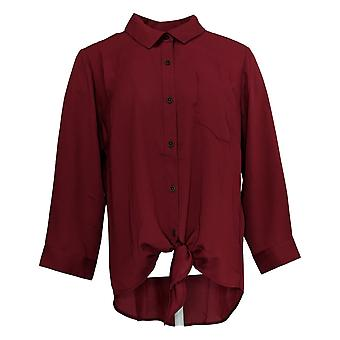 Belle By Kim Gravel Mujeres's Top Button & Tie Front Blouse Rojo A382348