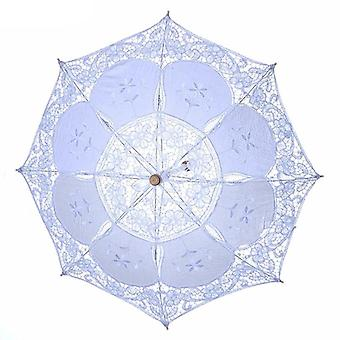 Wood Embroidery Cotton Lace Umbrella
