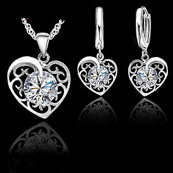 Sterling Silver Romantic Heart Bijuterii Set