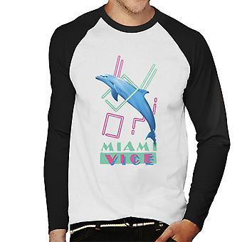 Miami Vice Dolphin Jump Men's Baseball Long Sleeved T-Shirt