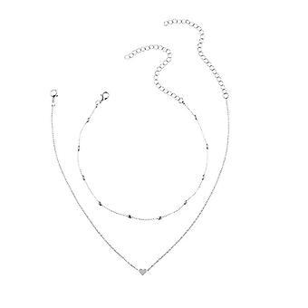 Stile incantevole 2 strati amano cuore regolabile collana catena multistrato