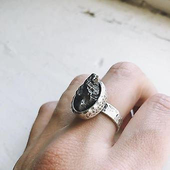 Oval Raw Meteorite Ring In Silver Ring