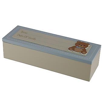 De doos van het aandenken van de babyjongen - geboortedatum
