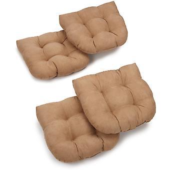 Coussins de chaise à manger tufted micro suede en forme de U de 19 pouces (ensemble de 4) - Java