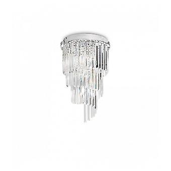 Lámpara De Techo De Cromo Cristal Carlton 8 Luces