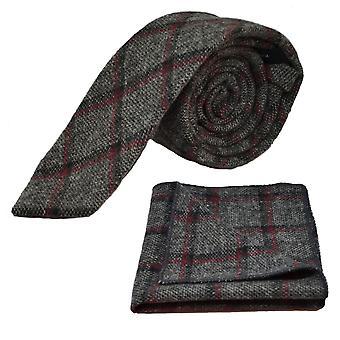 Heritage Pebble Grigio Check Cravatta e Set quadrato tascabile
