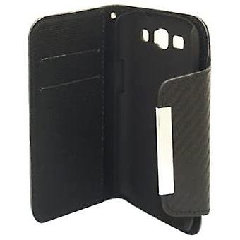 Deluxe Dual-use Flip Pu Leather Case for Galaxy S3 I9300 - Carbon Fiber