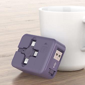 Ilano 3 en 1 câble de charge rétractable - iPhone Lightning / USB-C / Micro-USB - 1 Meter Charger Data Cable Purple